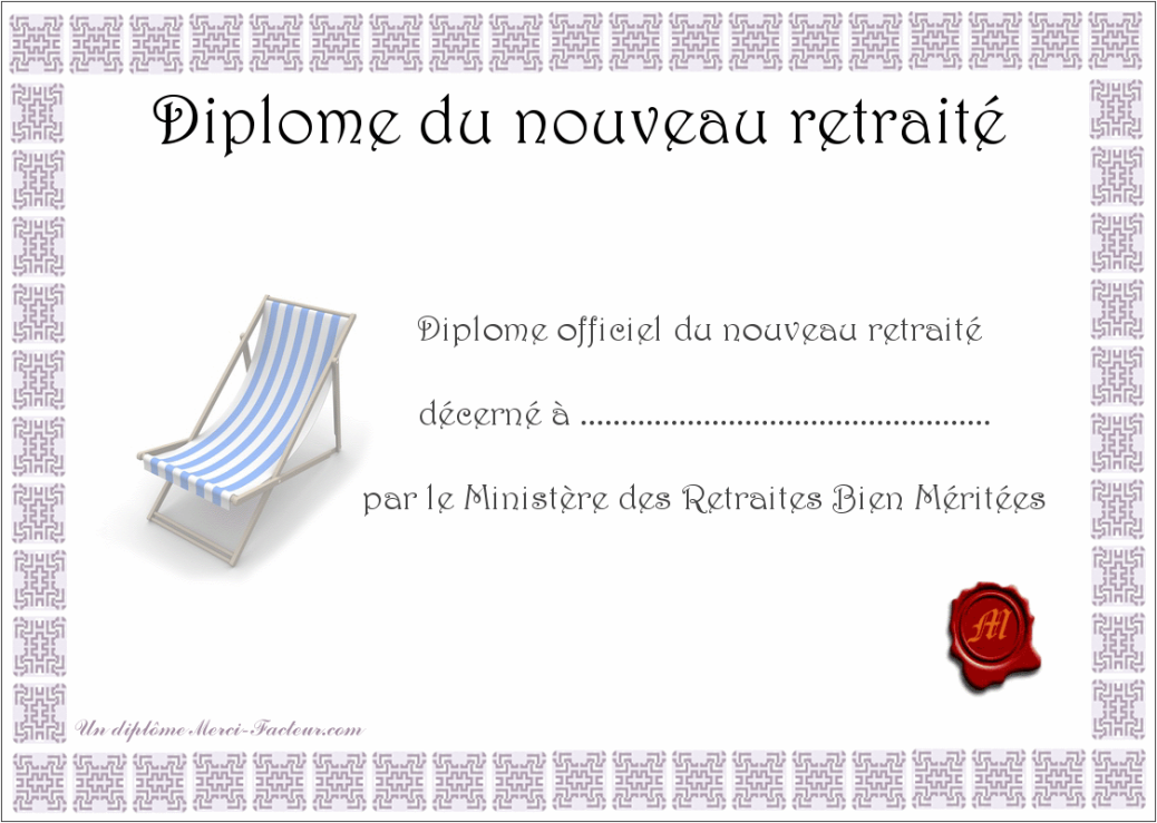 diplome de d part la retraite. Black Bedroom Furniture Sets. Home Design Ideas